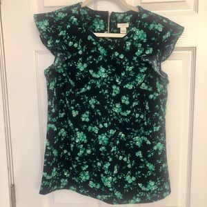 J. Crew Factory Navy & Green Floral Blouse